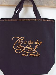 4337687b9f Christian Easter or Bible tote bag with beautiful cross on one side and  This is the day the Lord has made on other side