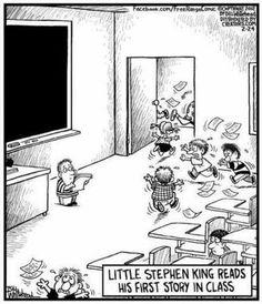 Le petit Stephen King lisant sa première histoire en classe...