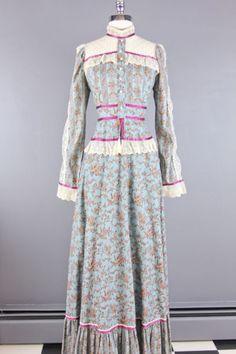 Vtg 70s Boho Gunne Sax Blue Romantic Floral Victorian Prairie Maxi Dress s M   eBay