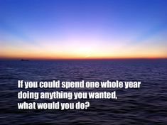 If you could spend one whole year doing anything you wanted, what would you do?
