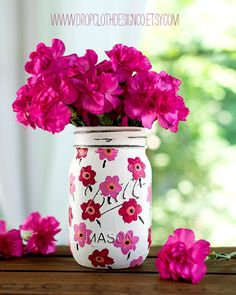 Paint Mason Jar -- Pink Marimekko Inspired Flower Painted Mason Jar
