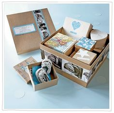 """The Day You Were Born"" baby box. Cute scrapbook/crafting idea for mementos."