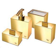 Starlight Square Bathroom Accessories Set W/ Swarovski - 4 Piece
