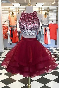 Prom Dresses For Teens, Two Piece Top Beaded Short Homecoming Dress,Graduation Dresses,Dance Dress Sweet 16 Dress Short prom dresses and high-low prom dresses are a flirty and fun prom dress option. 2 Piece Homecoming Dresses, 2 Piece Prom Dress, Cute Prom Dresses, Sweet 16 Dresses, Sweet Dress, Dresses For Teens, Dance Dresses, Sexy Dresses, Beautiful Dresses