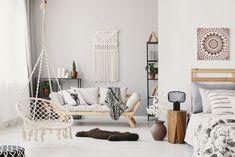 Boho Room, Boho Living Room, Living Room Interior, Deco Boheme Chic, Beige Couch, Earthy Home Decor, Wall Hanging Shelves, Hammock Chair, Room Hammock