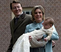 Dutch Princess Laurentien and Prince Constantijn arrive with their daughter Princess Eloise Sophie Beatrix Laurence for the Christening ceremony at Palace Het Loo December 15, 2002 in Apeldoorn, The Netherlands