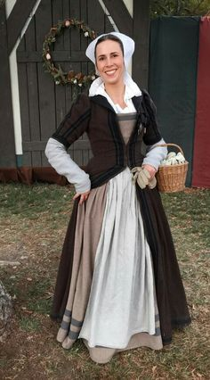 16th century middle class Brown fitted gown