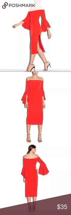 Pretty Little Red Dress for Valentine's Cute little off the shoulder bright red dress with gorgeous flared out sleeves, please ask for any measurements if needed!  Size large. Waist is 15 in flat across; length is 38 in Dresses Strapless
