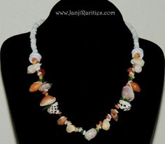 """Hawaiian Seashells & Sunrise shell necklace If you are the seashells lover you going to fall in love with this necklace :) Beautiful & fun combination of Hawaiian seashells create this beautiful 18 1/2 """" necklace.  #seashellnecklace #cowrieshells #drupeshells #pukashellnecklace # mitershells #mongoshells #Hawaiianseashells #Kauaishells"""