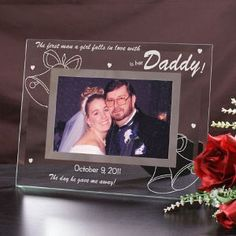 Personalized Wedding Glass Picture Frame | Engraved Wedding Frame for Dad