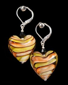 Lampwork Earrings, Glass Earrings, Heart Earrings, Yellow Brown Earrings, Earrings for Party. Fasion Jewelry. Gift for Her. Valentine's Gift