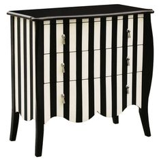 3-drawer hardwood chest with a scalloped apron and hand-painted stripe motif.   Product: ChestConstruction Material...