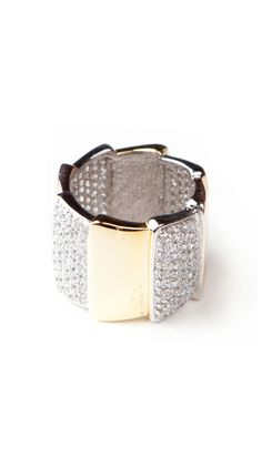 Tricolor Pave Ring
