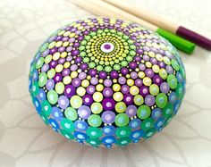 Paint Rock-Feather Doodle Zentangle by LisaFrick on Etsy