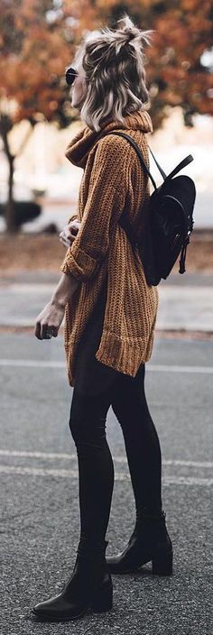 #winter #fashion /  Brown Knit / Black Skinny Jeans / Black Booties