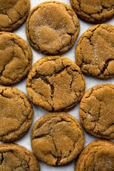 Seriously Soft Molasses Cookies Seriously soft and chewy molasses cookies will be your favorite Christmas cookie! So much delicious flavor in one easy cookie recipe. Recipe on sallysbakingaddic… Ginger Molasses Cookies, Ginger Snap Cookies, Molasses Cookie Recipe, Molasses Recipes, Köstliche Desserts, Delicious Desserts, Dessert Recipes, Holiday Baking, Sweets
