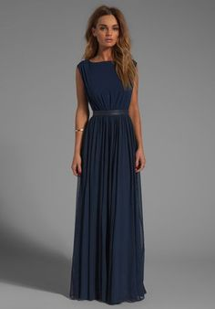 ALICE + OLIVIA Triss Sleeveless Maxi Dress with Leather Trim in Navy - Alice + Olivia