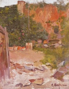 Eliseo Meifrén Roig. Rincón del jardín. Óleo sobre lienzo. Firmado. 34,5 x 27 cm. Ausa, 257. Exposición Valencia, p. 169.