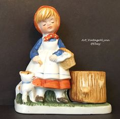 Darling Girl with puppy dog figurine - candle holder at #Art_Vintage4Lynn #Ebay to buy click image #Vintage #VeronaVergasi #Collectible #Figurine #CollectibleFigurine #Kitsch #VintageKitsch #MothersDayGift