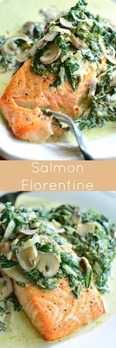 Salmon Florentine. This delicious, easy dinner is made with juicy, tender, baked salmon and topped with creamy spinach and mushrooms. #seafoodrecipes #DeliciousSeafoodMeals