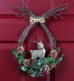 "Reindeer Holiday Wreath - 12"""
