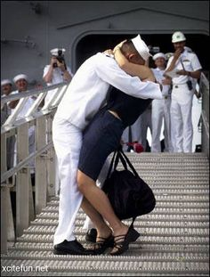 This will be me and Chris in just a few short days. Welcome home sailor! :) :)