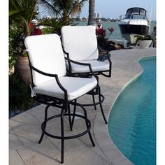 Comfort Care Cast Aluminum With Armrest Outdoor Swivel Barstools (set Of 2)