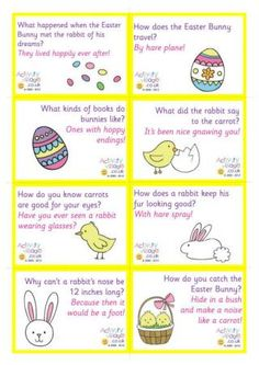 Add some fun to the kids' lunch boxes in the run up to Easter with these cute printable lunch box notes featuring our favourite family-friendly Easter jokes. Two pages available - just click the link below and print. Lunch Box Notes, School Lunch Box, School Lunches, Kid Lunches, Easter Activities, Activities For Kids, Easter Jokes, Easter Riddles, Easter Puzzles
