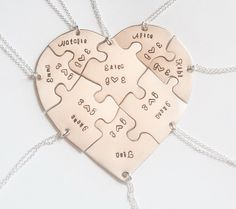 Hand engraved heart puzzle necklaces, shaped like a heart - perfect for 8, friendship, family, BFF, seven puzzles, jigsaw, 8 pieces, eight by InspiredByBronx on Etsy https://www.etsy.com/listing/304615236/hand-engraved-heart-puzzle-necklaces