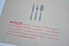Meze or mezze party invitations on natural kraft