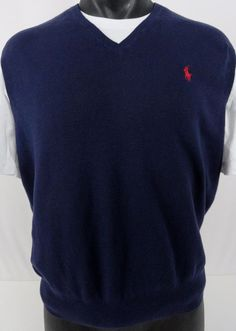 Polo Ralph Lauren Mens L Pima Sweater Vest Italian Yarn Navy Blue V-Neck Cotton #PoloRalphLauren #VNeck