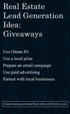 Real Estate Lead Generation Idea: Try A Giveaway - https://flyerco.com Create stunning real estate flyers online. #realtor #realestate