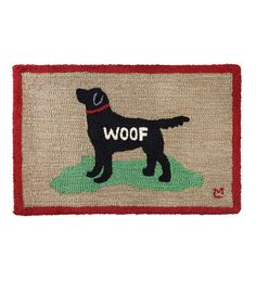Our Hooked Wool Black Lab Woof Accent Rug is sure to be a favorite among the dog lovers out there. The silhouette of the black Labrador retriever is unmistakable, as is the classic sound of a dog's bark: WOOF! Designed by Vermont artist Laura Megroz, our Wool Woof Rug is perfect for protecting and decorating your floors, hearth or door step. All-natural, luxurious New Zealand wool is hand-hooked into a thick, chunky loop that provides comfort underfoot and substantial protection for yo