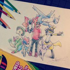 A Pokémon Coach with a Shiny Lucario, Volcarona, Latios, Breloom, Espeon and Keldeo.