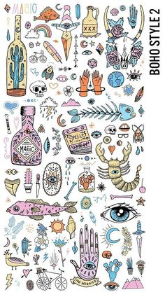 Boho Style 120 Megapack Clipart by Pepper on - Pepper Design Studio Cute Tattoos, Body Art Tattoos, Tattoo Drawings, Small Tattoos, Boho Tattoos, Illustration Art, Illustrations, Maquillage Halloween, Flash Art