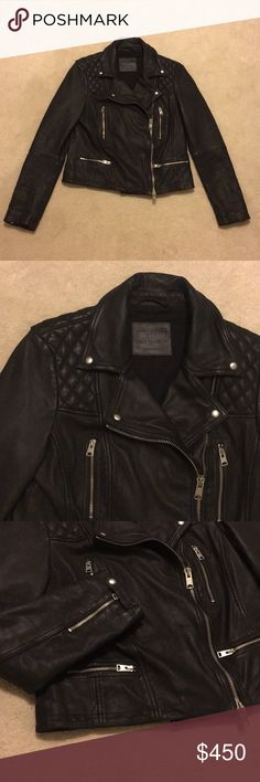 AllSaints Catch Leather Biker Jacket A signature piece from AllSaints crafted in the highest quality sheepskin leather. Brand new without tags. No flaws. Fits true to size. All Saints Jackets & Coats