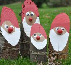Faire des pères Noël en bûches de bois