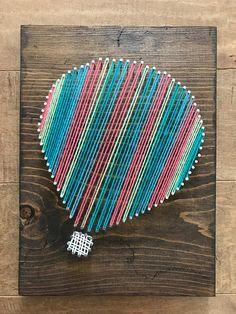 Custom Hot Air Balloon String Art Air Ballon, Hot Air Balloon, String Art Balloons, Fun Crafts, Crafts For Kids, String Art Patterns, Yarn Colors, Nursery Art, Art Sketches