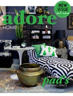 I love the patterns! // The Aug/Sep 2012 issue of Adore Home magazine features Sydney store PAD. Love that Keren Brown cushion in kelly green. www.adoremagazine.com/read