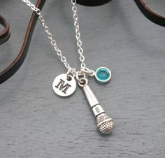 Microphone Necklace Personalized Microphone Necklace Silver