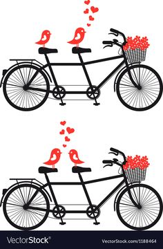tandem bicycle with cute birds in love. Download a Free Preview or High Quality Adobe Illustrator Ai, EPS, PDF and High Resolution JPEG versions. ID #1188464.