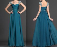Cap Sleeve Beading Sleeves Chiffon Long Prom Dress Aline Sweetheart Strap Formal Dress Turquoise Full Length Evening Dress Twist Party Dress on Etsy, $135.00