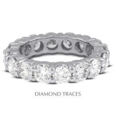 Diamond Traces UD-EWB100-5691 18K White Gold 4-Prong Setting 1.48 Carat Total Natural Diamonds Classic Eternity Ring, Women's, As Shown