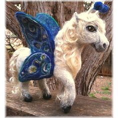 Felted FAIRY HORSEFLY / Pegasus  Unique Needlesculpted by QofQ, $190.00