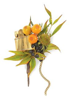 Boutonniere with a brass lighter