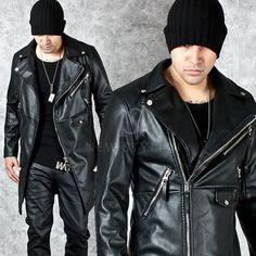 Diagonal zipper accent basic black long leather jacket - 86