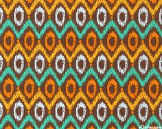 Orange green african pattern fabric