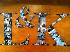 photos mod podged onto letters