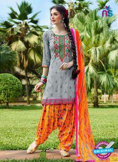 KalaKirti 9003 Grey and Multicolor Cotton Designer Suit