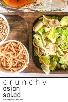 You'll love this easy 8-minute crunchy Asian Salad! The Asian dressing recipe is simple and contains no soy or sesame oil! ! With crunchy Chow Mein noodles and roasted sunflower seeds! No ramen here! Soy and sesame free!  #easyasiansaladrecipe #asiansaladdressing #asiansaladdressingrecipe #lightsummersalads #summersaladrecipes #healthysummersaladrecipes #nosoyasiansaladdressing #nomsgasiansaladdressing #nosesameoilasiansaladdressing #nosesameoilsaladdres Simple Asian Salad Recipe, Crunchy Asian Salad, Easy Recipes For Beginners, Cooking For Beginners, Summer Salad Recipes, Summer Salads, Asian Dressing, Chow Mein, Chopped Salad